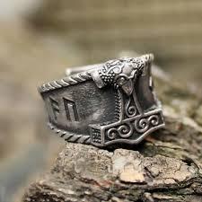 Mens <b>Viking Stainless Steel</b> Ring Mjolnir Thor <b>Hammer</b> Nordic ...