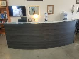 astounding design curved reception desk rounded gray laminate select espresso or cherry smart