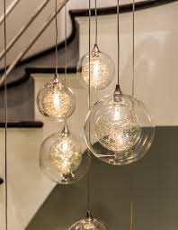 kadur custom cascade bubble blown glass chandelier two story chandelier contemporary staircase