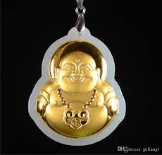 whole gold inlaid with jade long life lock laughing buddha maitreya talisman necklace pendant fine jewelry pendant necklaces from geliang1