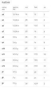 Native Shoes Size Chart Size Charts Nununu World