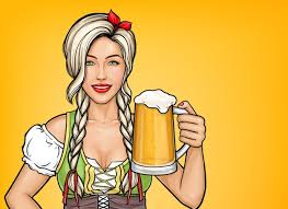 Free Vector | Pop art beautiful female waitress holding glass of <b>beer</b> ...