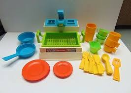 fisher price sink 918 1982 drainer dish soap bottle cups plate