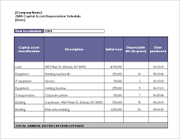 depreciation of fixed asset depreciation schedule template 9 free word excel pdf format