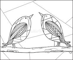 Abstract Couple Birds On Branch Line Art Illustration Decoration