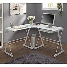 tempered glass office desk. New 51\u0026quot; Corner Writing Computer Office Desk - White Metal \u0026 Tempered Glass S