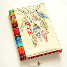 Books About Dream Catchers Dreamcatcher Fabric Book Cover Reusable Notebook by MyMagicNeedle 42