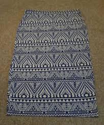 Aztec Design Skirt Womens Select Aztec Design Blue And White Pencil Skirt