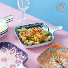 Hàng có sẵn) Khay nướng sứ chịu nhiệt cao cấp Bohemia 22.5x16cm hoạ tiết đa  dạng - dùng cho lò nướng, decor món ăn ... giá cạnh tranh