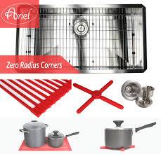 Ariel 36 Undermount Stainless Steel Zero Radius Single Bowl Kitchen