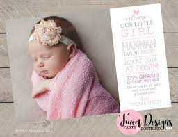 Announcement For Baby Girl Birth Announcement Girl Printable Baby Girl Thank You Card Girl
