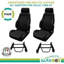4wd explorer bucket seat pair 2 adr app d black pu leather toyota hilux 88 97