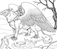 Griffin Adult Colouring Coloring Dragon Coloring Page Adult