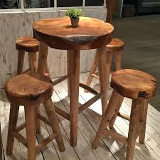 round bar table and stools rustic teak pub table and stool five piece set for tables