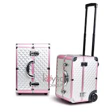 fashional black diamond makeup trolley with handle and wheels lg561