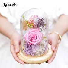 preserved flowers in glass sweet preserved flower gift valentines day birthday gifts natural dried flowers rose