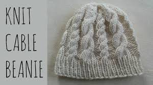 Free Knitted Hat Patterns On Circular Needles Cool Cable Beanie Easy Knit Pattern Tutorial YouTube