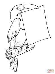 Small Picture Toucan Holds a Letter in Its Bill coloring page Free Printable