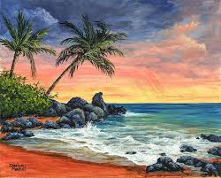 sunset beach painting landscape painting beach sunset by