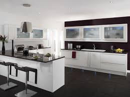 kitchen modern white. Kitchen:Perfect Modern White Kitchen With Dark Tile Floor And Small Breakfast Bar ,