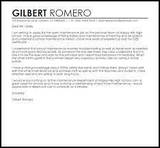 Maintenance Job Sample Cover Letter Cover Letter Templates Examples