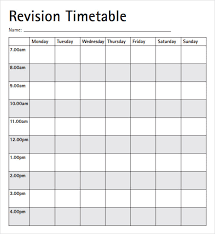Revision Schedule Template Blank Revision Timetable Magdalene Project Org