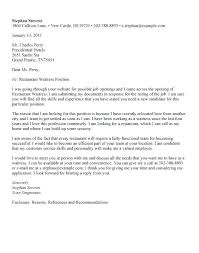 Waiter Job Application Cover Letters Job Applications Cover Letters