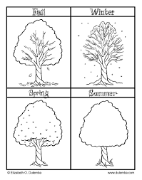 Small Picture Fall Winter Spring and Summer seasons coloring pages for kids