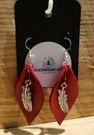 leather leaf earrings leather earrings not associated with joanna gaines magnolia market