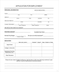 Generic Blank Job Application Generic Blank Job Application Template Employment Form Pdf