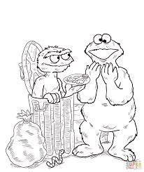 Small Picture Oscar and Cookie Monster coloring page Free Printable Coloring Pages