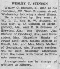 """Wesley Caldwell """"Wes"""" Stinson (1866-1937) - Find A Grave Memorial"""