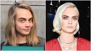 cara delevingne split image no makeup