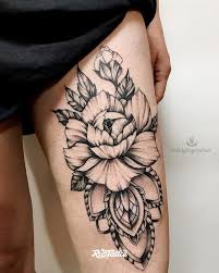 фото татуировки пион в стиле блэкворк вип шейдинг графика дотворк