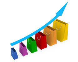 Growth Chart Stencil Designs Sales Growth Chart With Blue Growth Arrow Stock Photo