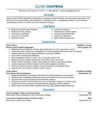 Sample Resume For Police Officer Profesional Resume Template