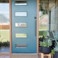 modern front door. White Midcentury Modern Exterior With Blue Front Door N