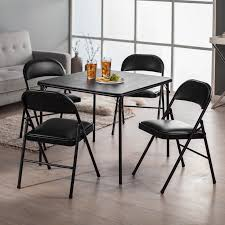 meco sudden comfort deluxe double padded chair and back 5 piece card table set black hayneedle