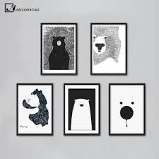 image is loading nordic polar bear black white animal cartoon canvas  on black and white bear wall art with nordic polar bear black white animal cartoon canvas poster wall art