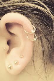 Double Helix Tragus 3 Lobe Gold Earrings Cartilage Fashion