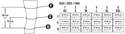 Knee Brace Size Chart Juzo Expert 3062df 30 40 Mmhg Seamless Knee Support With Open Patella