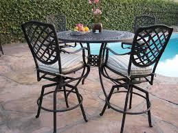 Details about outdoor cast aluminum patio furniture 5 piece bar table set b 4 swivel stool cbm
