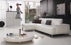 white living room furniture small. Extravagant Looking White Gloss Acrylic Rounded Table And Vinyl L Shape Chaise Lounge Couch On Living Room Furniture Small O