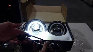 jeep jk led headlight wiring jeep image wiring diagram genssi 7 inch round led headlight halo angle eyes h6024 on jeep jk led