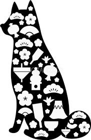 お正月の白黒の犬イラスト無料和風模様シルエット82820 素材good