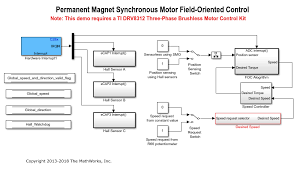 in this exle a closed loop field oriented control algorithm is used to regulate the sd and torque of a three phase permanent magnet synchronous motor