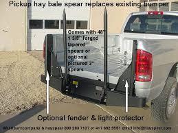 Bumper Mounted Pickup Hay Bale Spear Below Bed