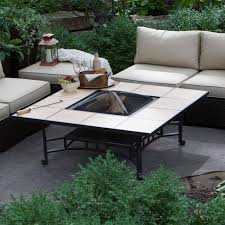 Outdoor Square Tile Convertible Fire Pit Table with FREE Cover | Hayneedle