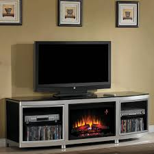 gotham electric fireplace insert home theater mantel in black silver metal