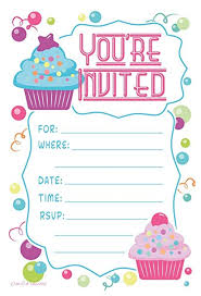 Birthday Party Invitation Amazon Com Cupcake Theme Birthday Party Invitations Fill In Style